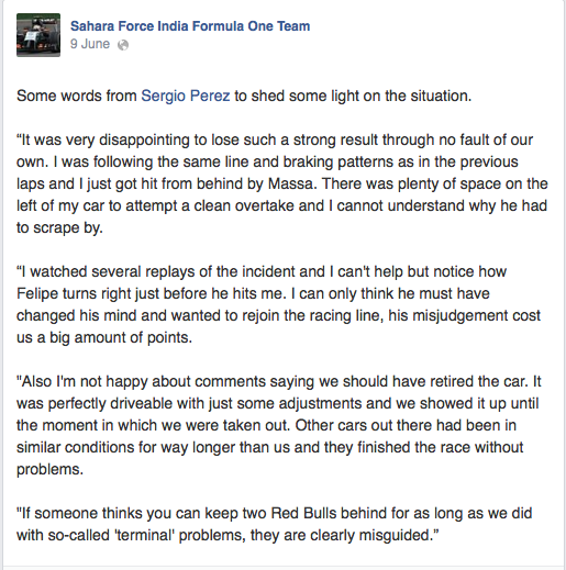 Pérez's statements on the crash. / Sahara Force India Formula One Team Facebook